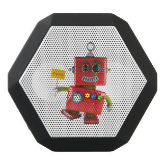 Dancing red toy robot with party sign