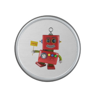 Dancing red toy robot with party sign bluetooth speaker