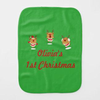 Dancing Reindeer 1st First Merry Christmas Xmas Burp Cloth