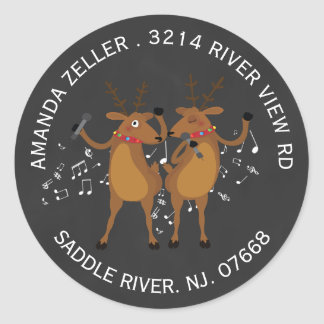 Dancing Reindeer Christmas Address Label Sticker