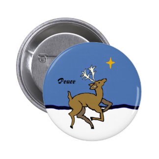 Dancing reindeer pin with the word Peace