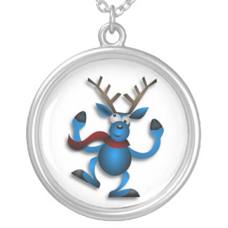 DANCING REINDEER SILVER PLATED NECKLACE