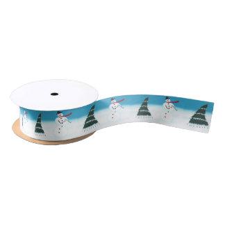 Dancing Rocking Snowman and Tree Ribbon Satin Ribbon