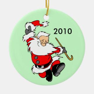 Dancing Santa 2010 Ceramic Ornament