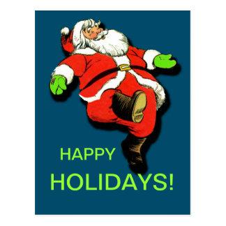 Dancing Santa Claus Christmas Card Postcard