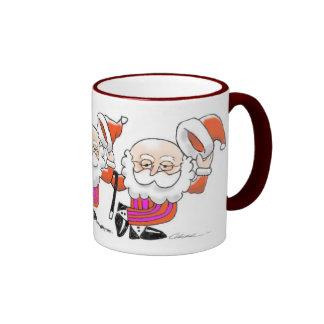 Dancing Santas mug