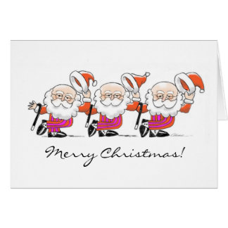 Dancing Santas note card