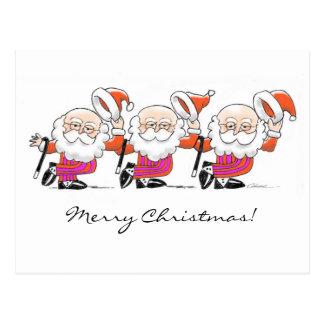 Dancing Santas postcard