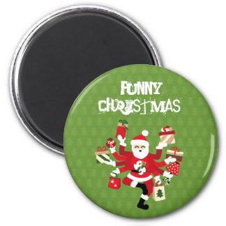 Dancing Shiva Claus - Spruce Forest 6 Cm Round Magnet
