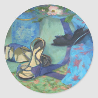Dancing Shoes and Dogwood Flowers Round Sticker