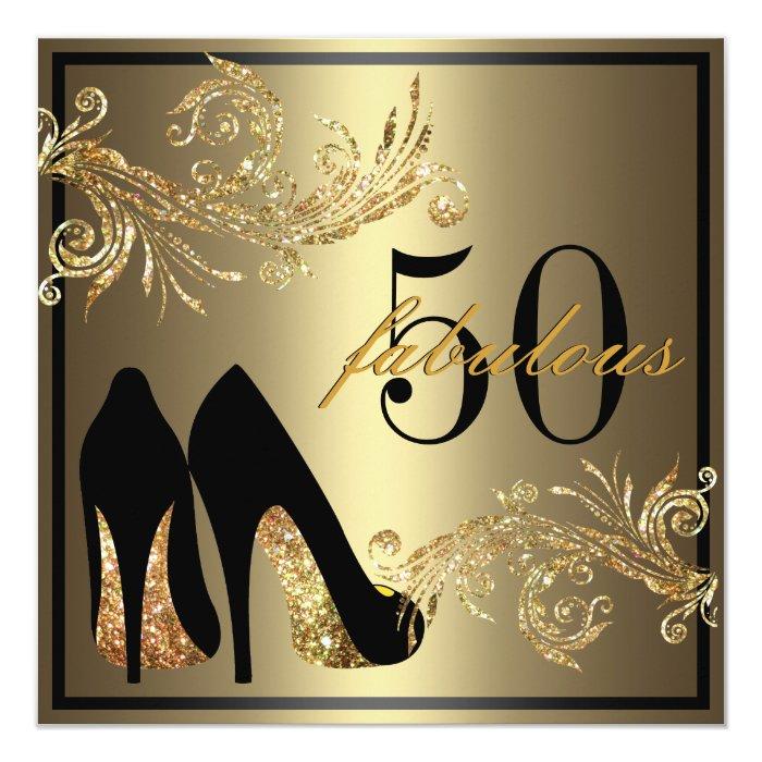 50 Fabulous Graphic: Dancing Shoes - Fabulous 50th Birthday Invitation