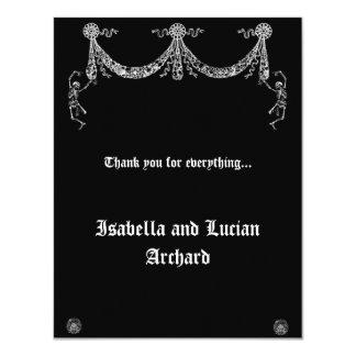 Dancing Skeleton Garland Goth Thank You card