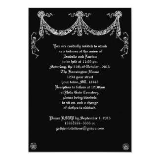 """Dancing Skeleton Garland Goth Wedding 5"""" X 7"""" Invitation Card"""