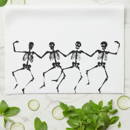 Dancing Skeletons (blacknwhite) Kitchen Towels