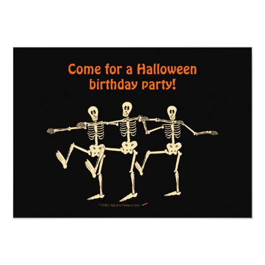 Dancing Skeletons Halloween Birthday Party Invite
