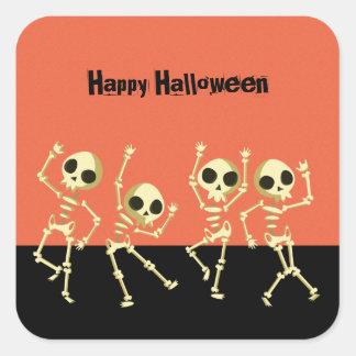 Dancing Skeletons Halloween Square Sticker