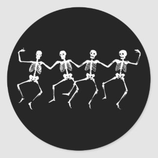 Dancing Skeletons II Classic Round Sticker