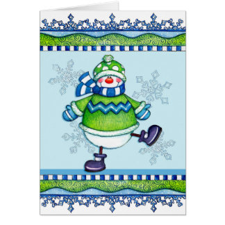 Dancing Snowman - Greeting Card