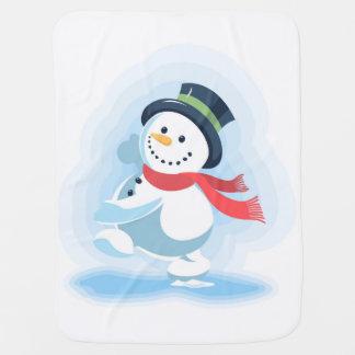 Dancing Snowman Stroller Blanket