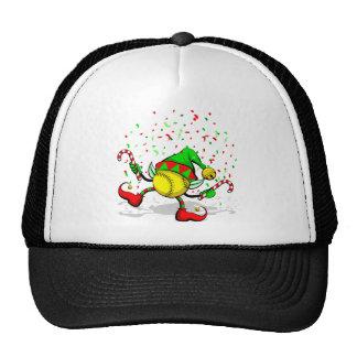 Dancing Softball Christmas Elf Mesh Hats