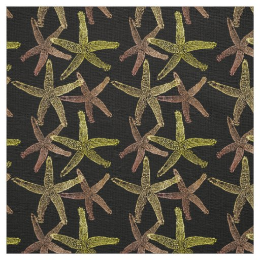 Dancing  starfish brown orange gold yellow black fabric