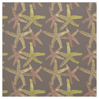 Dancing  starfish brown orange gold yellow fabric