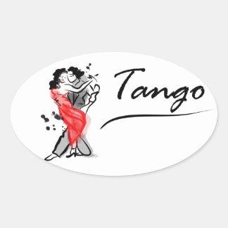 Dancing  Tango Oval Sticker