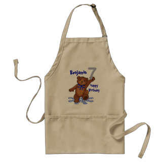 Dancing Teddy Bear 7th Birthday for Boy Aprons