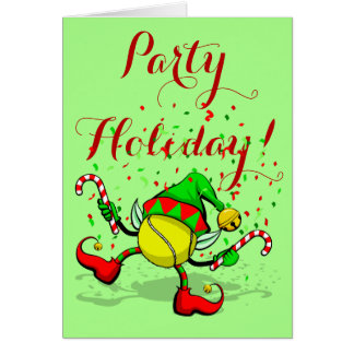 Dancing Tennis Christmas Elf with Confetti Greeting Card