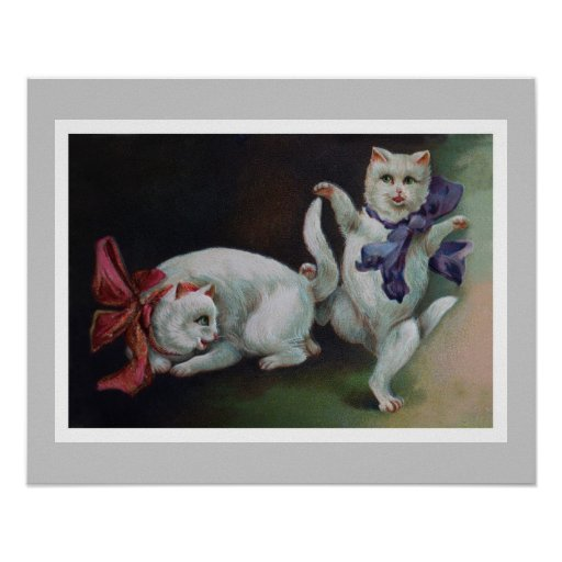 Dancing White Cat with Feline Admirer Poster