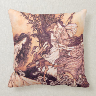 Dancing with Fairies Arthur Rackham Fine Art Throw Pillow