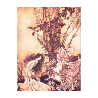 Dancing with Fairies Arthur Rackham Illustration Canvas Print