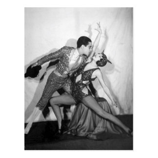 Dancing with the Devil Vintage Ballroom Duo Postcard