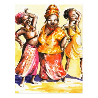 Dancing women postcard