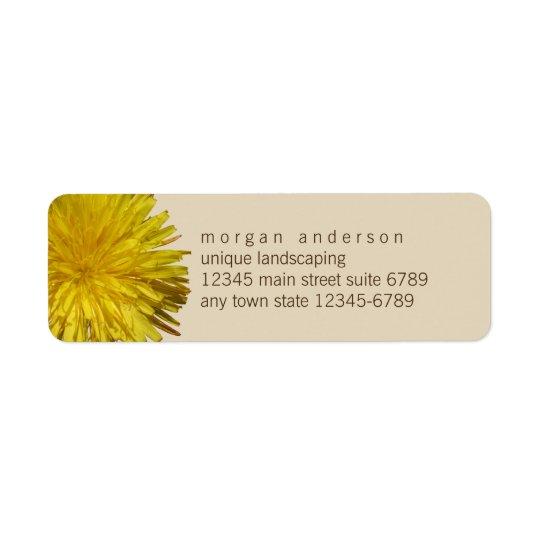 Dandelion 1 | Yellow Floral Garden Fun Business Return Address Label
