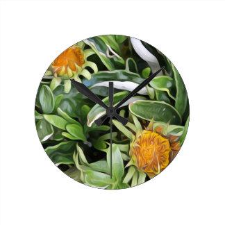 Dandelion a la Van Gogh Round Clock