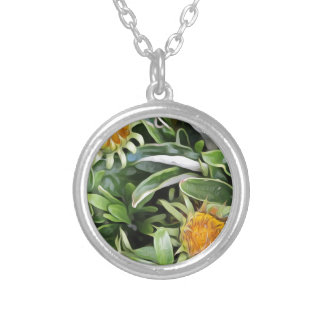 Dandelion a la Van Gogh Silver Plated Necklace