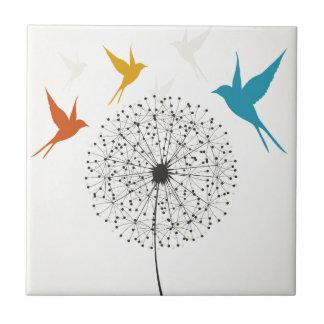 Dandelion and bird small square tile