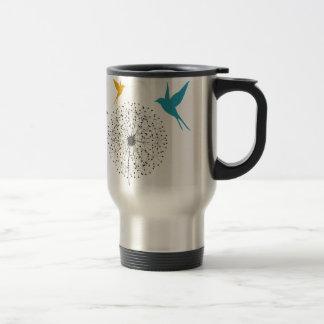 Dandelion and bird travel mug