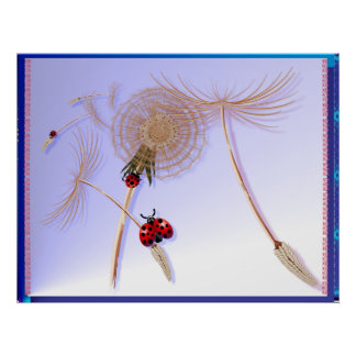 DANDELION and Hitchhicking ladybugs Poster