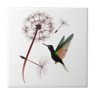 Dandelion and Hummingbird Tile