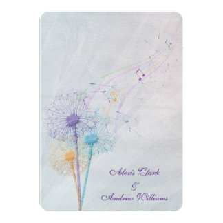 dandelion and musical notes on wedding tulle 13 cm x 18 cm invitation card