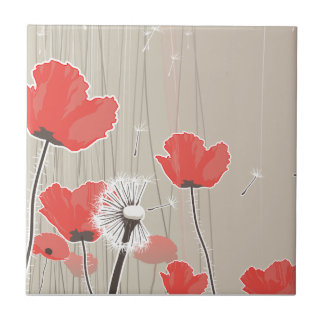 Dandelion and poppy flowers illustration quote small square tile