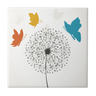 Dandelion and the butterfly small square tile
