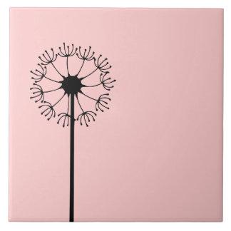 Dandelion Black Floral Tile