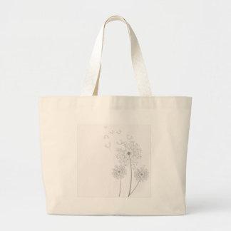 Dandelion Blossoms Vines Romantic Wedding Shower Canvas Bags