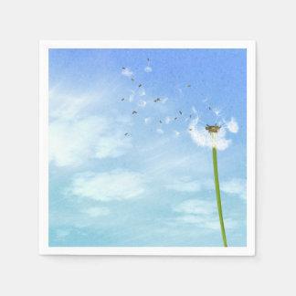 Dandelion Blue Sky Nature Illustration Paper Napkin