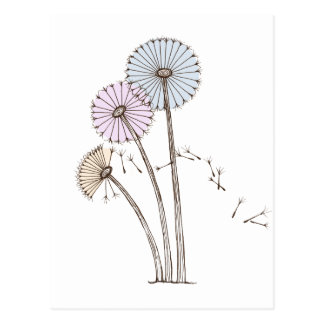 Dandelion Clocks blowing away in the breeze Postcard