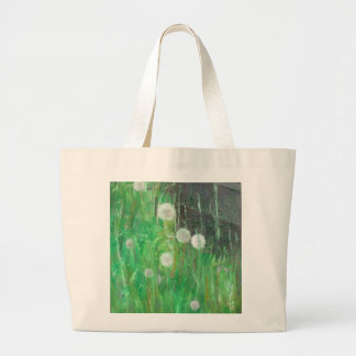 Dandelion Clocks in Grass 2008 oil on canvas Large Tote Bag