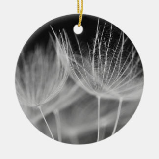 Dandelion Closeup in Black White Ceramic Ornament